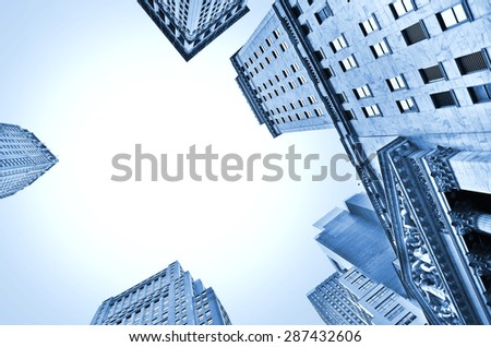 View of office buildings in the New York City - stock photo