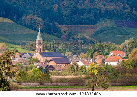 View of Ohlsbach town in the Black Forest mountains - stock photo