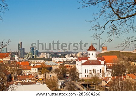 View of old and modern Vilnius, Lithuania - stock photo