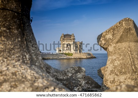 View of old casino from Constanta, Romania, in a sunny day