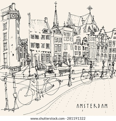View of old center with bicycles in Amsterdam, Holland, Netherlands. Historical building line art. Freehand drawing with liner pen on paper. Quick travel sketch with hand lettering. Postcard template  - stock photo