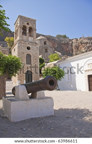 View of old church on the square in Monemvasia, Peloponnesus, Greece - stock photo