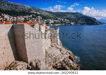 View of Old City Dubrovnik, Croatia - fortress and the Mediterranean Sea - stock photo