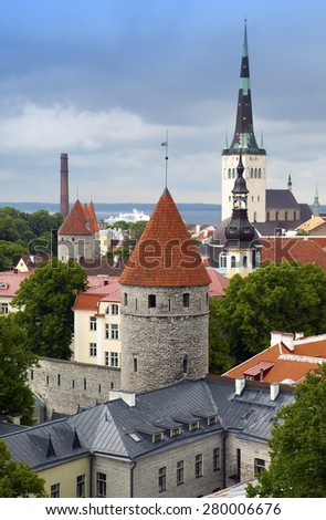 View of Old city's roofs. Tallinn. Estonia. - stock photo