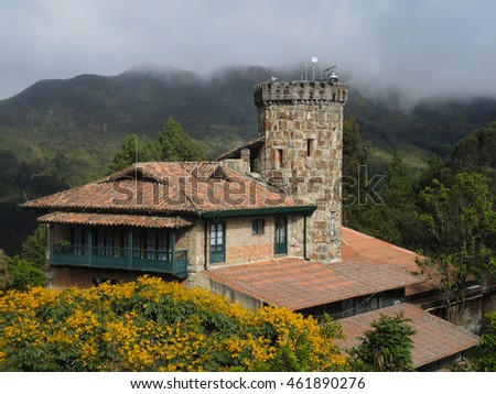 View of old colonial house in the Monserrate mountain in Bogota, Colombia.