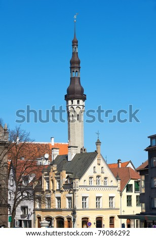 View of old houses and cupola of townhouse in Tallinn. Estonia