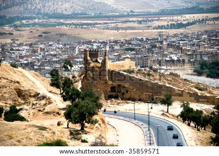 View of old Madina, Fes, Morocco - stock photo