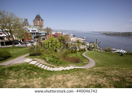 view of old quebec city from the top of the citadel - stock photo