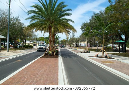 View of Old 41 Road in Bonita Springs Florida from the median, showing single lane traffic and palm trees.