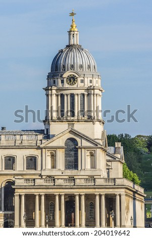 View of Old Royal Naval College (1873) building (UNESCO World Heritage Site) at sunset. Greenwich, London, UK