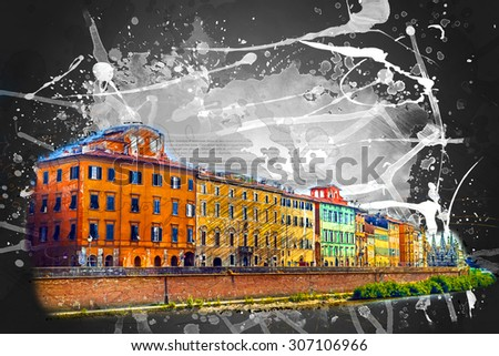 View of old street and river Arno in Pisa city, Italy - stock photo