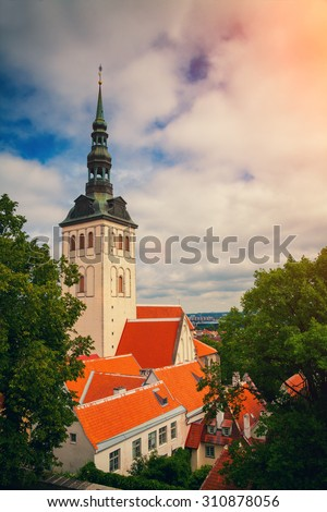 View of Old Tallinn city at sunset, Estonia, Europe - stock photo
