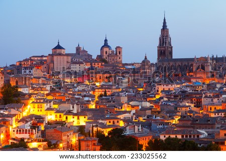 View of old Toledo with Cathedral in evening.  Spain