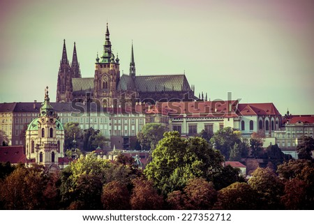 View of old town and Prague castle, Czech Republic - stock photo