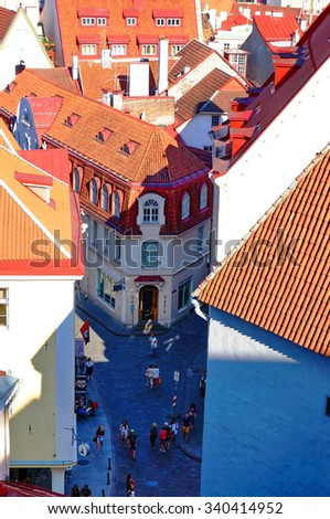 View of old town and street, Tallinn Estonia - stock photo