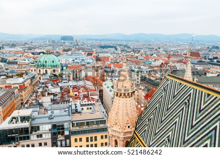 View of old town from St. Stephen's Cathedral, Vienna, Austria