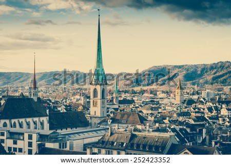 View of old town of Zurich, Switzerland with retro filter effect. - stock photo