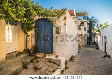 View of old town on island of Crete in Greece - stock photo