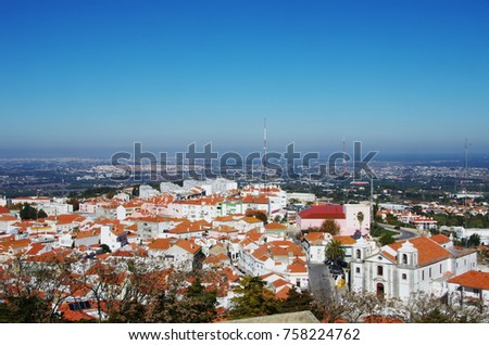 view of old town, Palmela, Portugal, from above
