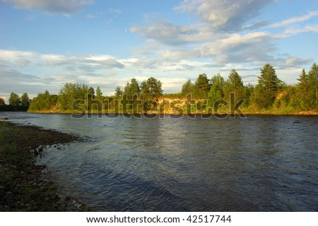 View of Onega river at sunset, north Russia - stock photo