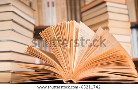 View of opened book isolated on white background - stock photo