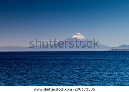 View of Osorno volcano over Llanquihue lake, Chile