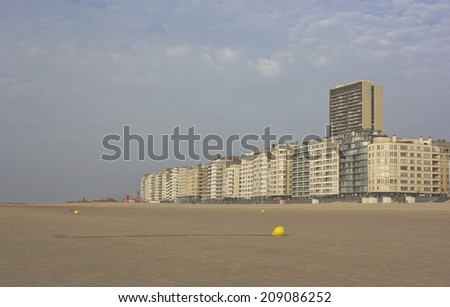 View of Ostend in Belgium from the beach - stock photo