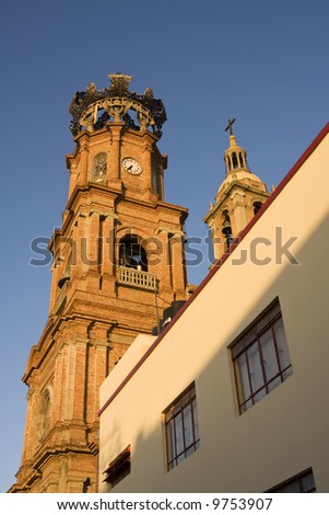 View of Our Lady of Guadalupe Cathedral, Puerto Vallarta, Mexico - stock photo