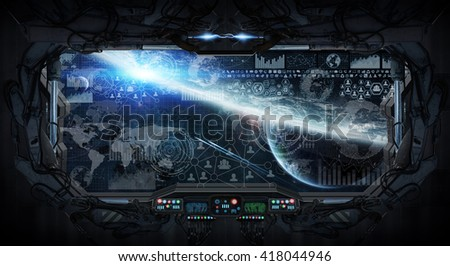View of outer space from the window of a space station 'elements of this image furnished by NASA' '3D rendering'3D rendering