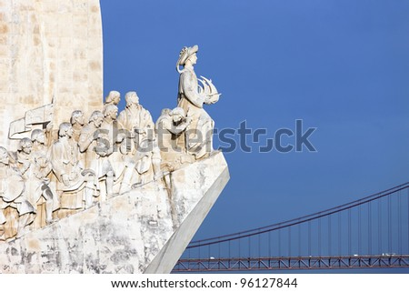 view of Padrao dos Descobrimentos, monument in Lisbon, Portugal - stock photo