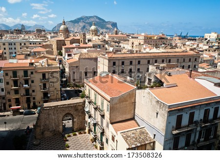 View of Palermo with old houses and monuments. sicily italy - stock photo