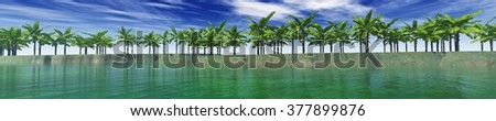 view of palm trees on the sea, an island in the ocean, palm trees in the ocean, tropical island - stock photo