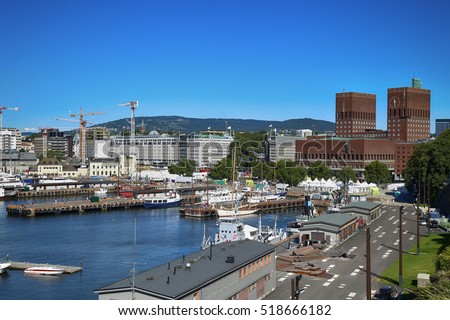 View of panorama on Oslo Harbour and Oslo City Hall in Oslo, Norway