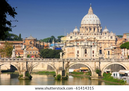 view of panorama Vatican City from Ponte Umberto I in Rome, Italy - stock photo
