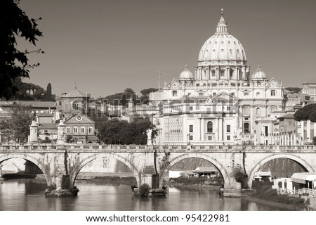 view of panorama Vatican City from Ponte Umberto I in Rome, Italy (black/white photo) - stock photo