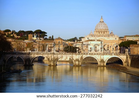 view of panorama Vatican City from Ponte Umberto I in Rome, Italy ( photographed very early in the morning ) - stock photo
