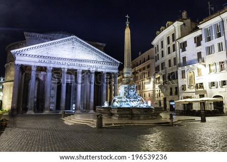 view of Pantheon at night. Rome. Italy. - stock photo