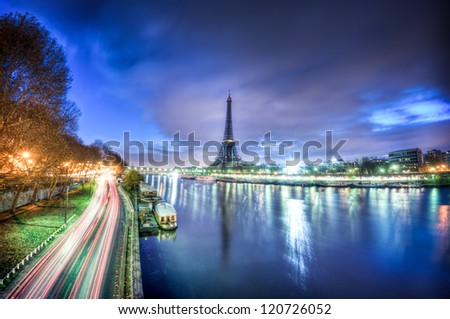 View of Paris by night - France - stock photo