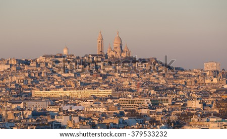 View of Paris city ( Montmartre area) during sunset - stock photo