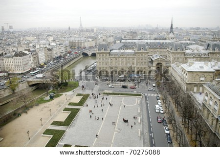 View of Paris from the roof of the cathedral of Notre Dame