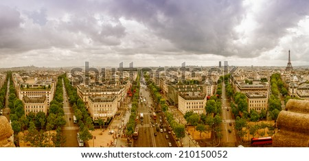 View of Paris southwestern side from Triumph Arc, City streets from Etoile roundabout. - stock photo
