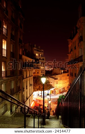 View of Paris streets by night - Montmartre - stock photo