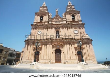 View of Parish Church-Mellieha,Malta - stock photo