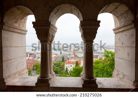 View of Parliament and Danube from the Fishing bastion, Budapest - stock photo