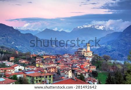 View of Parrocchia dei SS. Martino e Materno, Corrido. Como, Italy - stock photo
