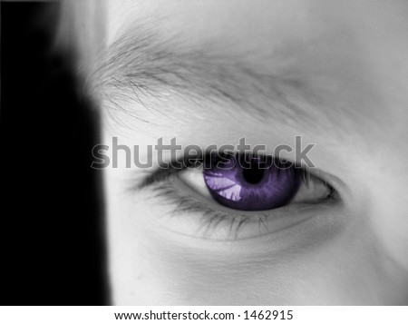 view of part of a human face with the eye left in color - stock photo