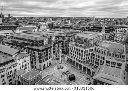 View of Paternoster Square and London Stock Exchange from the top of St. Paul's cathedral in London, UK
