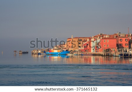 View of Pellestrina houses in the Venice lagoon, Italy