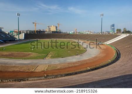 View of Phnom Penh stadium, Cambodia - stock photo