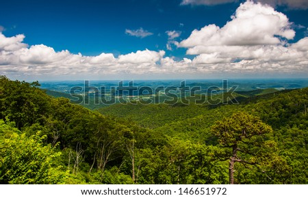 View of Piedmont from Skyline Drive in Shenandoah National Park, Virginia. - stock photo